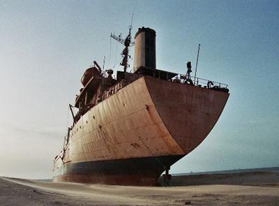 Detalle de barco abandonado